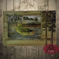 aluminum fish house - Vintage Tin signs Fish Shack home decor House Office Restaurant Bar iron Paintings