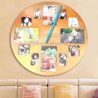 aluminum picture frame black - D I Y Round Aluminum Alloy Photo Frame Wall Clock Multi Photo Picture Frame and Time Wall Clock