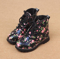 Wholesale Children s Boot Winter New Arrival Fashion Style Flowers Printed Girls Martin Boots Bandage Kids Shoes pair Fit Age