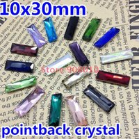 Wholesale 98pcs x30mm Princess Baguette Pointback Fancy Stone x10mm Rectangle Glass Crystal Colors Available For Jewelry Making