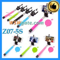 Wholesale Cable Selfie Stick New Z07 S Extendable Wired Monopod Selfie Stick Monopod Cable Take Pole For IOS Android