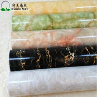 study room furniture - PVC waterproof furniture stickers marble wallpaper roll thickening high glossy wallpaper for kitchen cabinet stove decoration