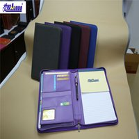 Wholesale HOT SALE multicolor zipper portfolio PU business notebook