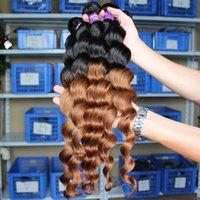 NOUVEAU Deux tons Ombre couleur 100% des extensions de cheveux humains Loose Wave 6A brésilienne Cheveux Virgin cheveux Bundle Remy Weave 3 / 4pcs Lot 8-30 pouces