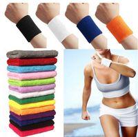 Wholesale HOT Unisex Cotton Sweat Band Sweatband Basketball Wristband Arm Band Tennis Gym Yoga Wristband Cotton Band Colors