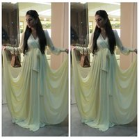 beige prom dresses - Dubai Abaya Arabic Evening Gowns Long Sleeves Yellow Prom Dresses Beige V Neck Chiffon Cheap Plus Size Formal Special Occasion Dress
