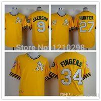 best oakland - 2015 New Hot Oakland Athletics Jersey Reggie Jackson Yellow Catfish Hunter Rollie Fingers Jersey Best Quality Fast Shiping