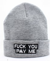 Cheap 2014 new fuck you pay me beanie hats and caps for men women grey black cotton knit sports hip hop cap white letters,Knitting beanie Hats