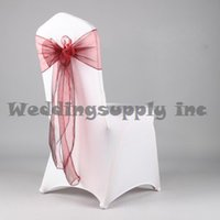 apple red chair sashes - Premium Burgundy Apple Red Organza Chair Cover Sash for Wedding Chair Sashes