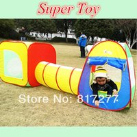 multi in one games - Promotion Price Large Kids play tent children beach tent with tunnel tube three in one game house park toy child birthday Gift
