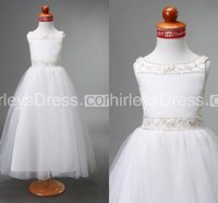 Cheap Latest Style Little Flower Girls' Dresses Princess Cute A Line Scoop Back Zipper White With Delicate Beads Dress For Children Custom Made