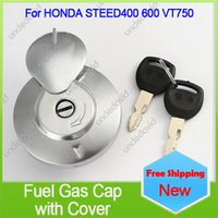 alloy motorcycle tanks - new alloy steel motorcycle fuel gas cap tank cap locking door cover for honda steed400 vt750 order lt no track