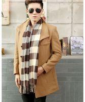 Wholesale 2015 Autumn Winter Men Fashion Scarves Plaid Tartan infinity scarves Artificial Fur cm Colors