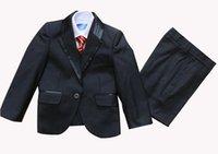 Acheter Chemises habillées ensemble cravate-Garçon Tuxedo Suit Vest Chemises Cravate ou nœud papillon Costumes de mariage Robe 5 pcs set 10 ensembles / lot