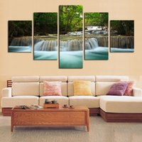 art waterfalls - 5 Panel Waterfall Painting Canvas Wall Art Picture Home Decoration Living Room Canvas Print Painting Unframed