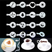 barista art - 16pcs Set Coffee Decorating Mold Mould Cocoa Powder Sieve Printing Stencil Barista Duster Art Tool Spray Flowers Die YH024