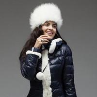 Wholesale Vintage Faux Fur Russian Hat Women Ear Warm Winter Beret Cap Ear flap Hat w Balls