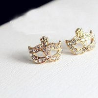 mask earrings - Rhinestone Inlaid Alloy Ear Stud Fashion Female Jewelry Mask Shape Earring