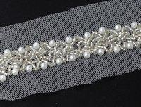 al por mayor la cinta del rhinestone para la ropa-5yard Craft White Net Falso perlas Rhinestones trenzado cinta de encaje recortar decorado Trim para prendas de vestir de costura de 47 mm T510