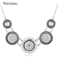 antique brass button - VOCHENG NOOSA Vintage Snap Button Chain Necklace Women Antique Silver Jewelry for Free Style NN