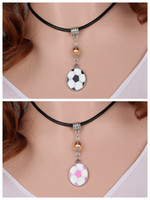 soccer jewelry - Vintage Silver Enamel Football Soccer Charms Choker Genuine Leather Collar Necklace Pendants For Women Jewelry DIY S371