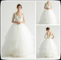 Wholesale 2016 Long Sleeve Wedding Dress Tulle With Crystal Scoop Ball Gown Formal Women Wedding Gowns Bridal Dresses Backless White Brautkleider