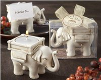 candles and candle holders - Newest Lucky Elephant Antique Ivory Candle and Card Holder Wedding Favors and Baby Gifts Wedding Supplies free shiipping
