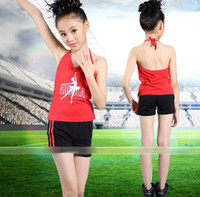 Wholesale best selling Cotton Aerobics Lace up Sleevelss Sport Calisthenics Elastic Children Clothing Tshirt Pants Kids Tank Top Vest Shorts Outfits
