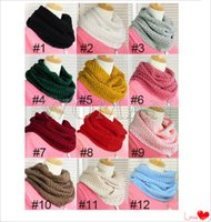 Wholesale 2014 Hot Women Top Selling Warm Knit Neck Circle Wool Cowl Snood Long Scarf Shawl Wrap Via E Packet