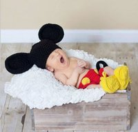 big ear mouse - Newborn Photography Props Big ears Mickey Sets Baby Photo Choting Mouse Sets Knitting Baby Outfits Exquisite Photograph Prop