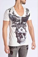 button skull - 2015 New arrive designer Rhinestone Printing Pattern SKULL men t shirts P33795 tees man t shirt