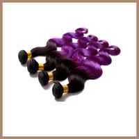 peruvian hair bundles - HOT A Human Virgin Hair Extensions Tone Ombre Color Purple Peruvian Hair Bundles Body Wave Remy Hair Weave Indian