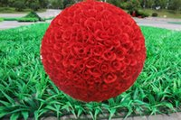 large silk flowers - 2015 New cm Artificial Encryption Rose Silk Flower Kissing Balls Large Hanging Ball Christmas Ornaments Wedding Party Decorations