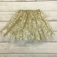 Wholesale Sparkly Girls Gold Sequin Tutu Skirts Silver Pink Baby Toddler Long Tulle Princess Dance Wear Kids Clothing Custom Made