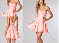 Cheap Sexy Charm 2015 Cheap Sweet-Heart Neck Homecoming Dresses Coral Chiffon Short Lace-Up Ruffle Graduation Dress Prom Gowns Cocktail Dress