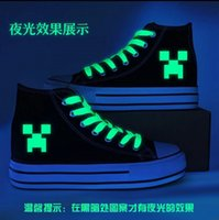 Cheap AAAA+quality 2015 New creative Minecraft canvas shoes men and women JJ strange increased high-top canvas shoes canvas shoes