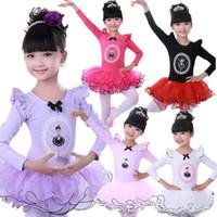 Wholesale Girls Swan Ballet Tutu Skirt Princess Dancing Dress Long Sleeve Party Clothes Kids Children Stage Show Costumes Free Drop Ship