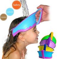 Wholesale 2015 Rack New Kids Bath Visor Hat adjustable Baby Shower Cap Protect Shampoo Hair Wash Shield for Children Infant Splashguard Waterproof