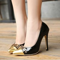 alphabet work - 2016 Gold alphabet pointed toe stiletto high heeled pumps work shoes office ladies size to