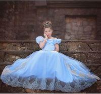 Summer acrylic dance floor - 2015 Cinderella dresses party bow dress princess costume Frozen fever cosplay dress girls lace belt Kids dance falbala dress TOPB3354