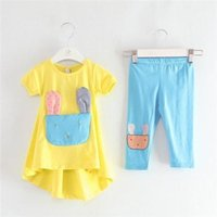 Cheap 2014 Candy Colors Rabbit Pattern Short Sleeve Shirt & Pant Cotton Kids Clothing Suit 0257