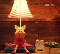 Wholesale Cloth children s room cute cat pig monkey lamp desk lamp creative cartoon lamps dimmable bedroom bedside lamp living room garden lighting