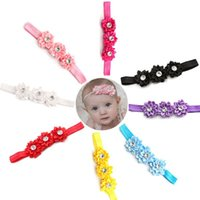 Wholesale New Lovely Baby Girl Satin Flower Soft Headband Infant Toddler Elastic Headwear Multicolor Hair Band