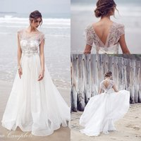 Cheap 2016 New Anna Campbell A Line Wedding Dresses V Neck Crystal Beading Sheer Maternity Boho Beach Organza Long Plus Size Open Back Bridal Gown