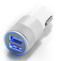 Cheap 3.1A Dual USB Car Charger Alloy Aluminum Metal 2 Port Universal Fast Charging Adapter For Iphone 4S 5s 6s Ipad Samsung Galaxy Note 2 3 4 5
