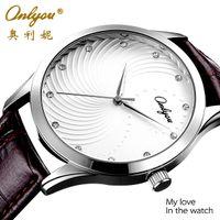 mens luxury watch quartz - Lovers Watches Fashion Mens Watch Master Waterproof Luxury Leisure Quartz Cowhide Hardened Glass Zircon Steel White Dial Coffee Color Strap