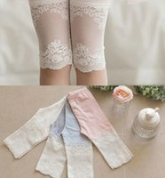 Wholesale Summer Children Girls Lace Patched Cotton Legging White Grey Pink Cute Princess Cropped Trousers Dress Foot Wear B3921