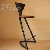 art solid wood furniture - American style furniture vintage style chair solid wood iron art bar chair