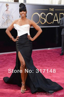 Wholesale 2014 Sexy Kelly Rowland in Oscar Celebrity Dresses Mermaid White and Black High Split Backless Evening Gowns Formal Prom Pageant Dress Cheap