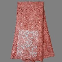 lace material - Amazing wedding dress material peach flower embroidery African cord lace fabric guipure lace material with sequins LW16
